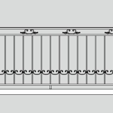 Кованое металлическое балконное ограждение 01