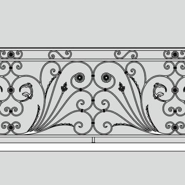 Кованое металлическое балконное ограждение 14