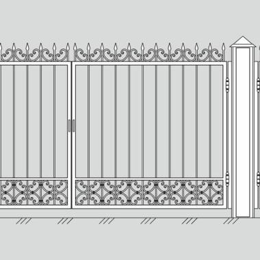 Кованые металлические ворота и калитка 04
