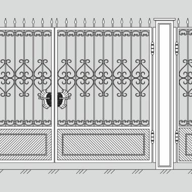 Кованые металлические ворота и калитка 05