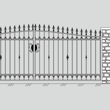 Кованые металлические ворота и калитка 06