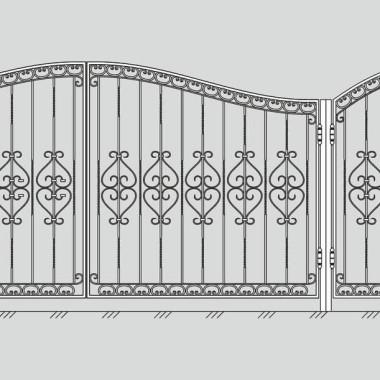 Кованые металлические ворота и калитка 07