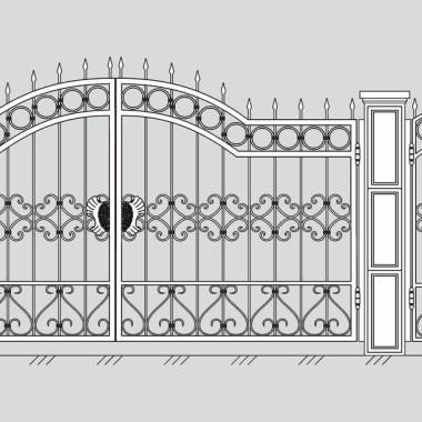 Кованые металлические ворота и калитка 14