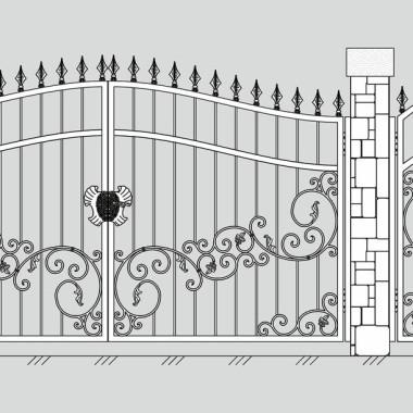 Кованые металлические ворота и калитка 16