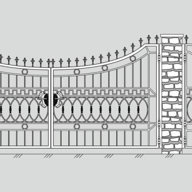 Кованые металлические ворота и калитка 20