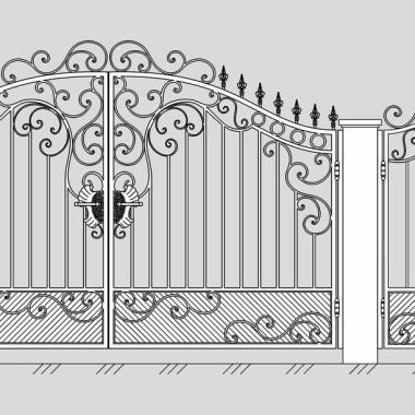Кованые металлические ворота и калитка 21