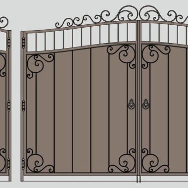 Кованые металлические ворота и калитка 23