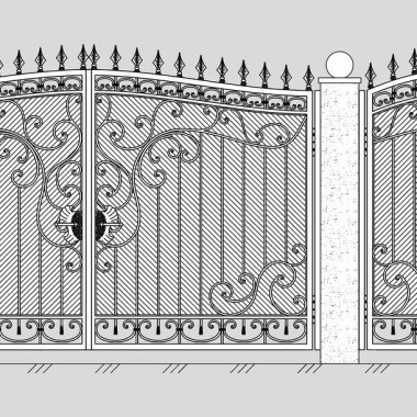Кованые металлические ворота и калитка 24