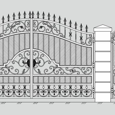 Кованые металлические ворота и калитка 25