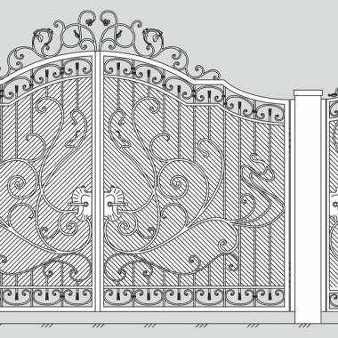 Кованые металлические ворота и калитка 27